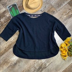 Anthropologie Deletta Snap Side Navy Blue Shirt